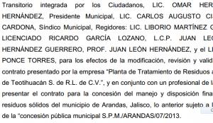 Acta de cabildo del Ayuntamiento de Arandas del 14 de mayo de 2014