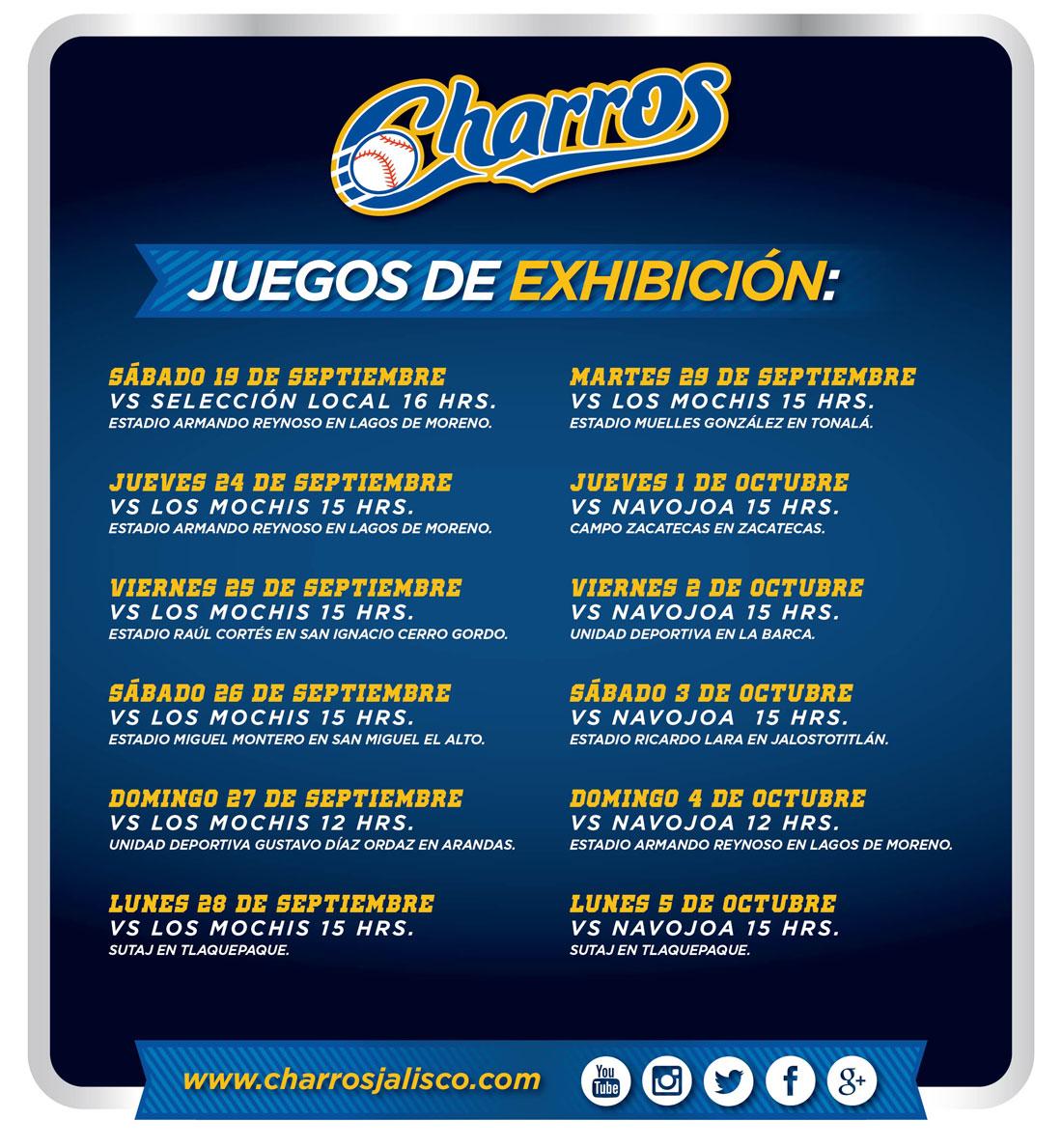 Calendario de juegos de exhibición Charros de Jalisco